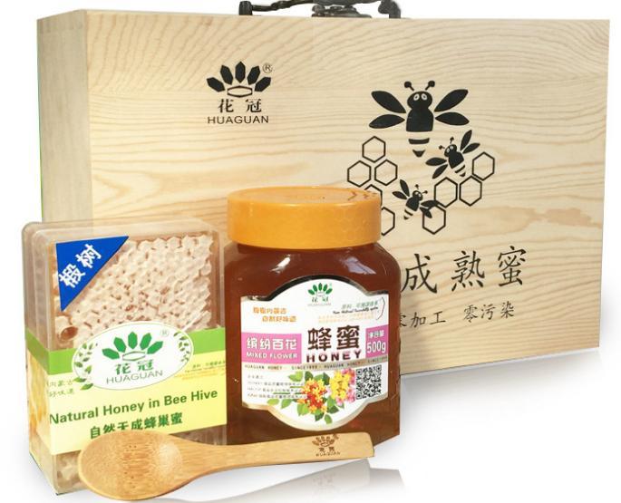 成熟椴树蜜百花蜂蜜 嚼着吃礼盒装蜂巢蜜元旦过节送礼木质蜂蜜