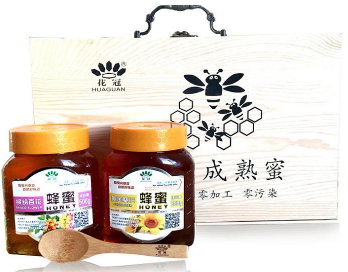 內蒙古木質禮盒蜂蜜 年貨送禮葵花蜂蜜百花蜂蜜500g*2瓶成熟蜂蜜