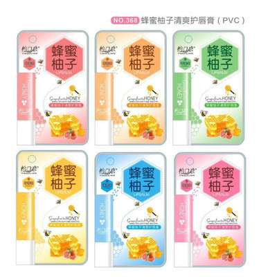 怡口恋蜂蜜柚子清爽润唇膏368水果味淡化修护唇纹防干裂PVC4.2g