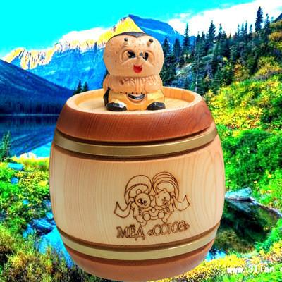俄羅斯原裝進口阿倫卡聯盟椴樹蜜雜花蜜350克小蜜蜂木桶
