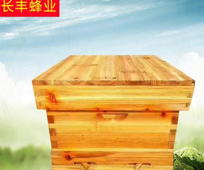 现货供应标准十框煮蜡蜂箱 烘干杉木无缝平箱高箱 养蜂工具蜂箱