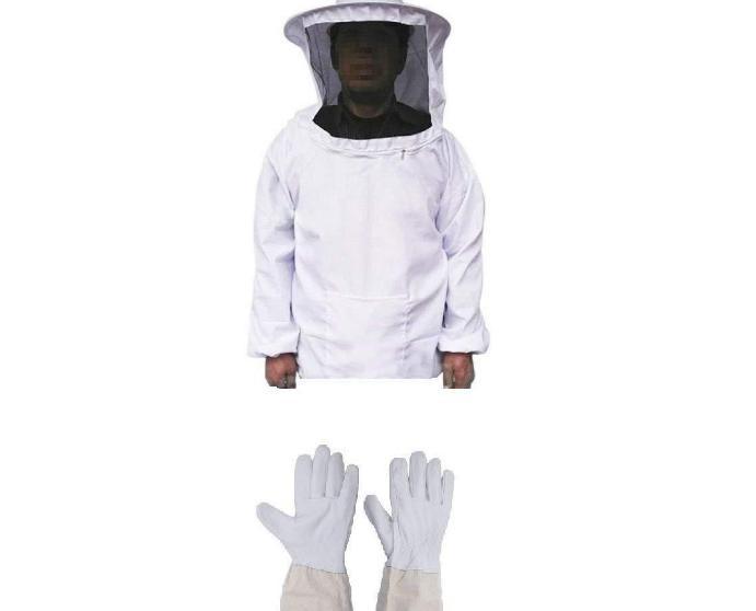 出口型热销蜂具养蜂新手套装白色防蜂衣养蜂手套养蜂工具